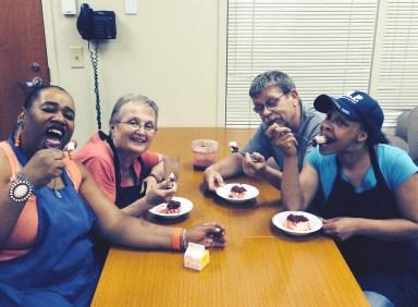 Center Cafe staff enjoy a desert break